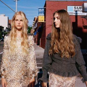Zara gold foil mini skirt
